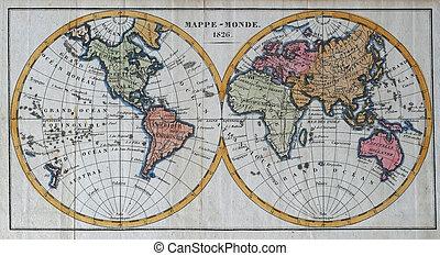 starożytny, oryginał, mapa, świat