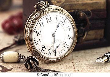 starożytny, ozdoba, zegar, kieszeń, obiekty, retro