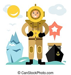 starożytny, podwodny, styl, diver., barwny, płaski, scuba, wektor, diving., rysunek, illustration.