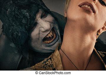 starożytny, potwór, neck., halloween, demon, strzyga, kaprys, kobieta, chwyta rzędziami