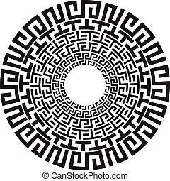 starożytny, próbka, grek, wektor, czarnoskóry, klucz, biały, meandry, okrągły
