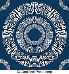 starożytny, próbka, ornament., etniczny, ameryka, okrągły
