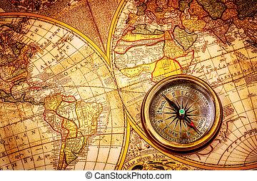 starożytny, rocznik wina, map., kłamstwa, busola, świat