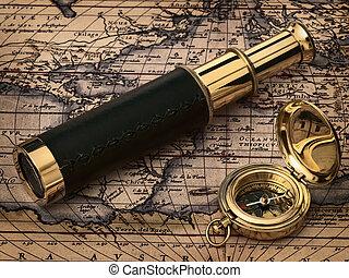starożytny, rocznik wina, zegar, mapa