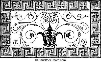 starożytny, spirale, rzymski, paryż, pittoresque, patterns., szczegół, geometryczny, magazyn, le, projektować, 1840, foliated, robiony, brzeg, mozaika, magasin