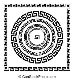 starożytny, starożytny, rozeta, elements., ułożyć, pulse., krajowy, ornament., ozdoba, próbka, prostokątny, grek, meander., vector., koło, brzeg, okrągły