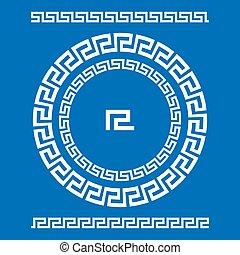 starożytny, starożytny, rozeta, elements., ułożyć, pulse., krajowy, ozdoba, próbka, prostokątny, grek, meander., vector., koło, brzeg, okrągły