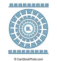 starożytny, starożytny, rozeta, elements., ułożyć, pulse., krajowy, ozdoba, seamless, próbka, prostokątny, grek, meander., meandros, vector., koło, brzeg, okrągły