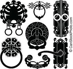 starożytny, starożytny, stary, handl, lok, drzwi