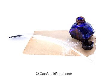 starożytny stary, kałamarz, odizolowany, pióro, papier, biały
