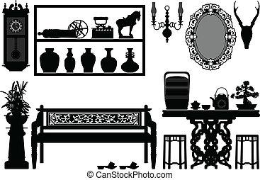 starożytny, tradycyjny, stary, meble