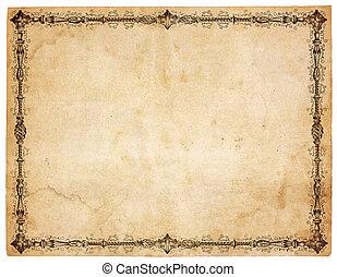 starożytny, wiktoriański, papier, brzeg, czysty