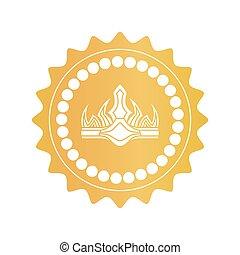 starożytny, złoty, kolor, królewska korona, marka, jakość