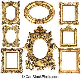 starożytny, złoty, styl, elementy, rocznik wina, frames., collection., album na wycinki, barok, objects.