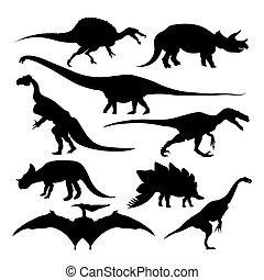 starożytny, zwierzęta, odizolowany, dinozaur, sylwetka, wygasły, gatunek