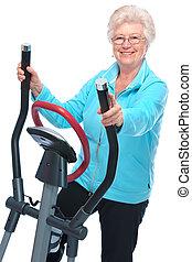 starsza kobieta, bardziej skokowy, wykonując