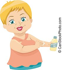 starsza kobieta, ilustracja, sunscreen