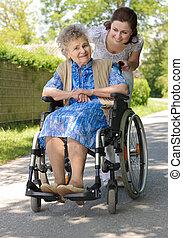 starsza kobieta, outdoors