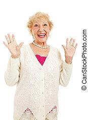 starsza kobieta, radosny