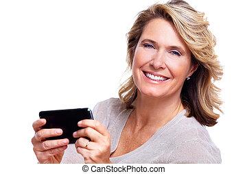 starsza kobieta, smartphone., szczęśliwy