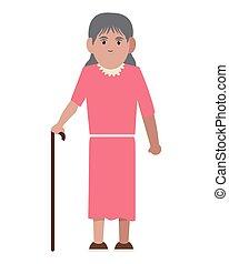 starsza kobieta, trzcina, ikona