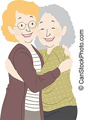 starsza kobieta, uścisk, ilustracja