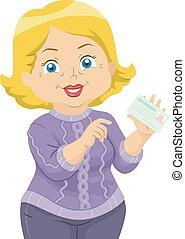 starsza kobieta, utrzymywać, ilustracja