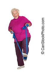 starsza kobieta, wykonując, retried
