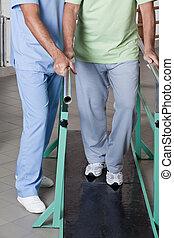 starszy człowiek, terapia, ambulatory, posiadanie