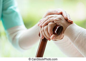 starszy, pielęgnować, dama, utulając