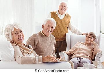 starszy, razem, szczęśliwy