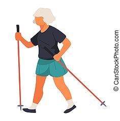 starszy, słupy, fizyczny, nordycki, kobieta piesza, działalność