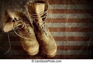 stary, armia, na bandera, papier, czyścibut, tło
