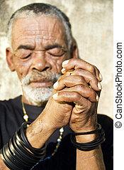 stary, characterful, twarz, czarnoskóry, afrykański człowiek