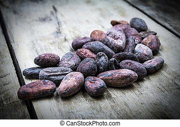 stary, drewniany, kakao, surowy, fasola, stół