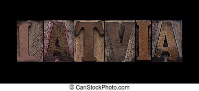 stary, drewno, typ, łotwa