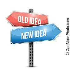 stary, idea, ilustracja, znak, idea, projektować, nowy