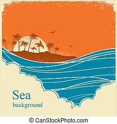 stary, ilustracja, morze, horyzont, motyw morski, afisz, rocznik wina, waves.