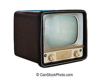 stary, komplet, biały, rocznik wina, telewizja