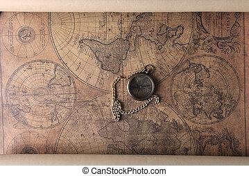 stary, mapa, busola