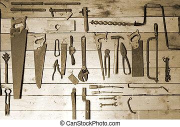 stary, narzędzia, ręka