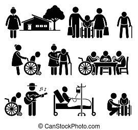 stary, pielęgnacja, starszy, ludzie, dom troska