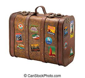 stary, podróż, wolny, walizka, royaly, majchry