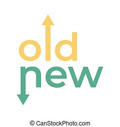 stary, przeciwległy, strzały, typography., droga, kierunki, nowy