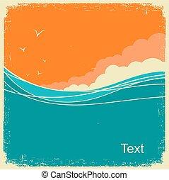 stary, rocznik wina, text., ocean, papier, tło, fale, motyw morski