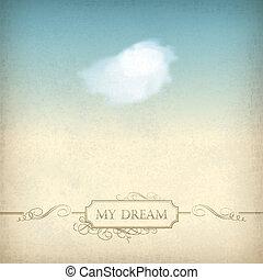 stary, rocznik wina, ułożyć, niebo, papier, tło, chmura