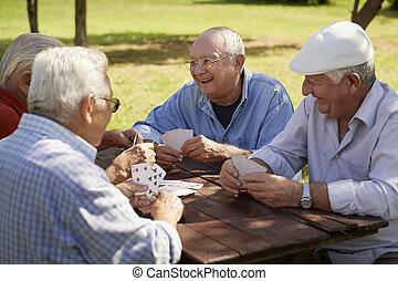 stary, seniorzy, park, czynny, bilety, grupa, przyjaciele, interpretacja