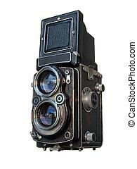 stary, soczewka, bliźniak, aparat fotograficzny, czarnoskóry, odbity