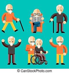 stary, starszy, komunikacja, ludzie., pociecha, starszy, działalność, troska, wiek