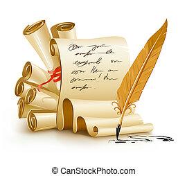 stary, tekst, atrament, papier, rękopisy, pismo, pióro